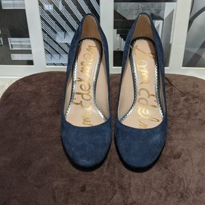 Sam Edelman Junie Suede Leather Royal Blue Heels